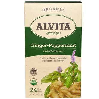 Alvita Teas, Ginger-Peppermint, Organic, Caffeine Free, 24 Tea Bag, 1.69 oz (48 g) - iHerb.com