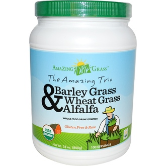 Amazing Grass, The Amazing Trio, Barley Grass & Wheat Grass & Alfalfa, Whole Food Drink Powder, 28 oz (800 g) - iHerb.com