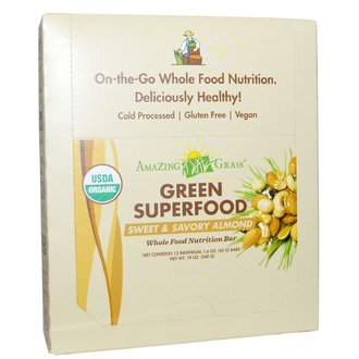 Amazing Grass, Organic, Green Superfood, Whole Food Nutrition Bar, Sweet & Savory Almond, 12 Bars, 1.6 oz (45 g) Each - iHerb.com