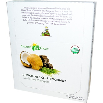Amazing Grass, Whole Food Energy Bar, Chocolate Chip Coconut, 12 Bars, 2.1 oz (60 g) Each - iHerb.com