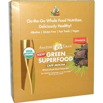 Amazing Grass, Whole Food Nutrition Bar, Cafe Mocha , 12 Bars, 2.1 oz (60 g) Each  - iHerb.com
