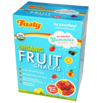 Tasty Brand, Organic Fruit Snacks, Mixed Fruit Flavors, 24 Pouches, 0.8 oz (23 g) Each - iHerb.com