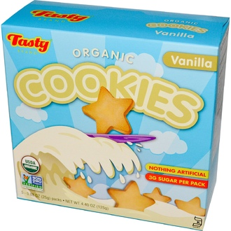 Tasty Brand, Organic Cookies, Vanilla, 5 Packs, 0.88 oz (25 g) Each - iHerb.com