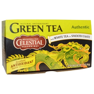Celestial Seasonings, Green Tea, Authentic, 20 Tea Bags, 1.4 oz (41 g) - iHerb.com