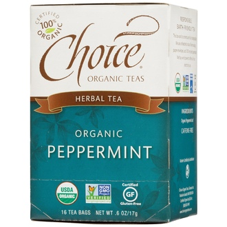 Choice Organic Teas, Herbal Tea, Organic, Peppermint, Caffeine-Free, 16 Tea Bags, .6 oz (17 g) - iHerb.com