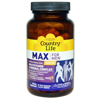 Country Life, Gluten Free, Max for Men, Multivitamin & Mineral, Iron-Free, 120 Veggie Caps - iHerb.com