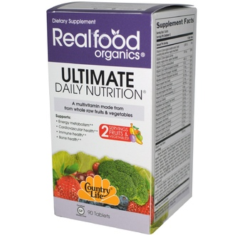 Country Life, Gluten Free, Realfood Organics, Ultimate Daily Nutrition, 90 Tablets - iHerb.com