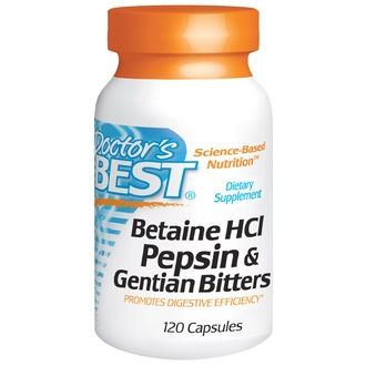 Doctor\'s Best, Горькая настойка из бетаина гидрохлорида, пепсина и генцианы (Betaine HCL Pepsin & Gentian Bitters), 120 капсул - iHerb.com