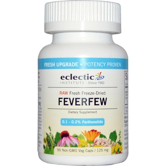Eclectic Institute, Feverfew, 125 mg, 90 Non-GMO Veggie Caps - iHerb.com