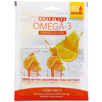Coromega, Omega-3 Squeeze, Orange, 8 Packets, 2.5 g Each - iHerb.com