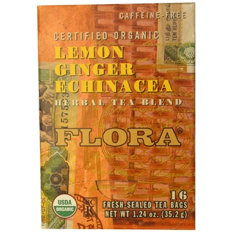 Flora, Herbal Tea Blend, Certified Organic Lemon Ginger Echinacea, Caffeine Free, 16 Tea Bags, 1.24 oz (35.2 g) - iHerb.com