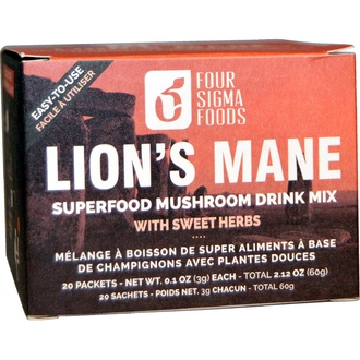 Four Sigma Foods, Lion\'s Mane, Superfood Mushroom Drink Mix, 20 Packets, 0.1 oz (3 g) Each - iHerb.com