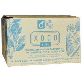 Four Sigma Foods, XOCO Blue, Mushroom Hot Cocoa Drink Mix with Reishi, Sweet Cinnamon, 10 Powder Bags, 0.2 oz (6 g ) Each - iHerb.com