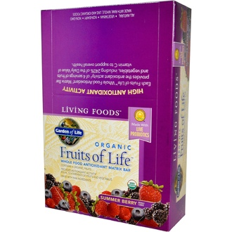 Garden of Life, Living Foods, Organic Fruits of Life, Whole Food Antioxidant Matrix Bar, Summer Berry, 12  Bars - iHerb.com