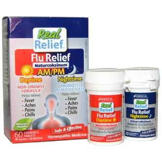 Homeolab USA, Real Relief, Flu Relief, Naturcoksinum, AM/PM, 60 Chewable Tablets - iHerb.com