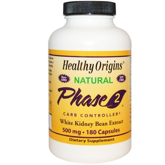 Healthy Origins, Phase 2 Carb Controller, Экстракт белой фасоли, 500 мг, 180 капсул - iHerb.com