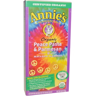 Annie\'s Homegrown, Organic, Macaroni and Cheese, Peace Pasta and Parmesan, 6 oz (170 g) - iHerb.com