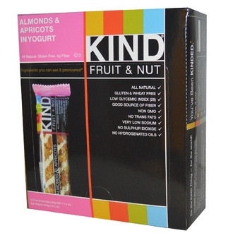 KIND Bars, KIND Fruit & Nut Bars, Almonds & Apricots in Yogurt, 12 Bars, 1.6 oz (45 g) Each - iHerb.com
