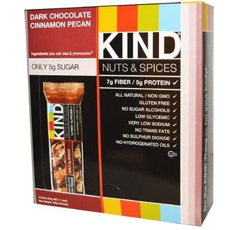 KIND Bars, Nuts & Spices, Dark Chocolate Cinnamon Pecan, 12 Bars, 1.4 oz (40 g) - iHerb.com