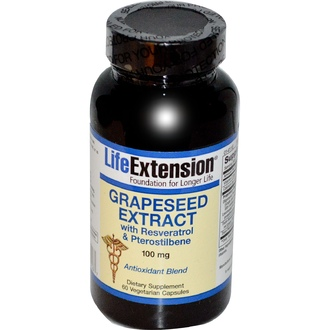 Life Extension, Grapeseed Extract, with Resveratrol & Pterostilbene, 100 mg, 60 Veggie Caps - iHerb.com