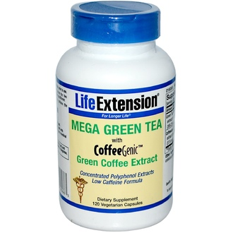 Life Extension, Mega Green Tea with CoffeeGenic, Green Coffee Extract, Low Caffeine, 120 Veggie Caps - iHerb.com