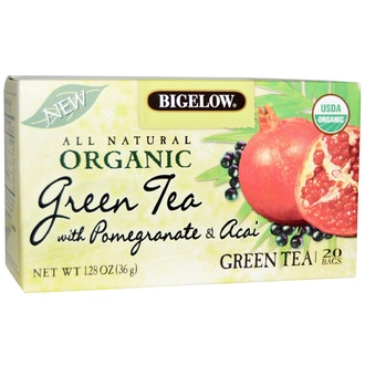 Bigelow, Organic Green Tea with Pomegranate & Acai, Green Tea, 20 Bags, 1.28 oz (36 g) - iHerb.com