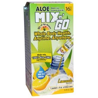 Lily of the Desert, Aloe Mix n\' Go, Natural Aloe Powdered Drink Mix, Lemonade Flavored, 16 Packs, 0.25 oz (7 g) Each - iHerb.com
