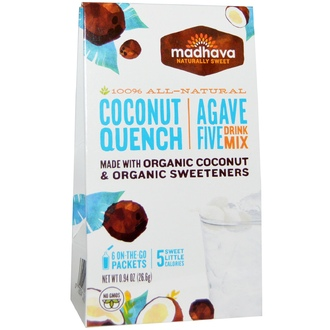 Madhava Natural Sweeteners, Agave Five Drink Mix, Coconut Quench, 6 Packets, 0.94 oz (26.6 g) - iHerb.com