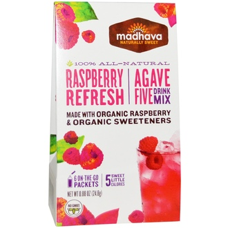 Madhava Natural Sweeteners, Agave Five Drink Mix, Raspberry Refresh, 6 Packets, 0.88 oz (24.8 g) - iHerb.com