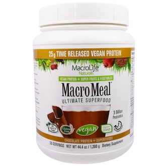 Macrolife Naturals, MacroMeal, Chocolate Protein + Superfoods, 44.4 oz (1,260 g) - iHerb.com