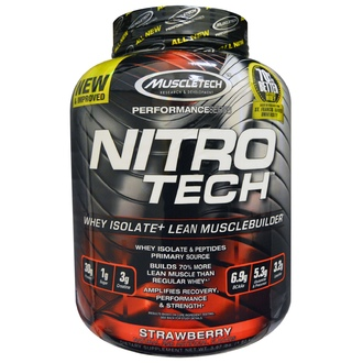 Muscletech, Nitro Tech, Whey Isolate + Lean Muscle, Strawberry, 3.97 lbs (1.80 kg) - iHerb.com