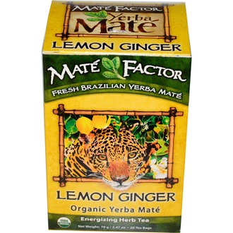 Mate Factor, Organic Yerba Maté, Lemon Ginger, 20 Tea Bags, 2.47 oz (70 g) - iHerb.com