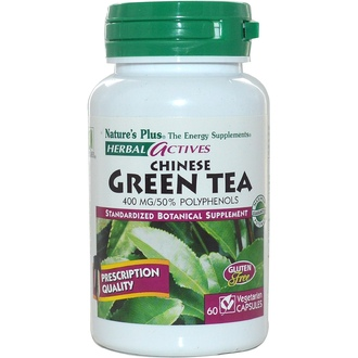 Nature\'s Plus, Herbal Actives, Chinese Green Tea, 400 mg, 60 Veggie Caps - iHerb.com