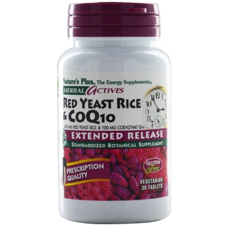 Nature\'s Plus, Herbal Actives, Red Yeast Rice & CoQ10, 600 mg/100 mg, 30 Tablets - iHerb.com