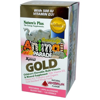Nature\'s Plus, Animal Parade Gold, Children\'s Chewable Multi-Vitamin & Mineral, Watermelon, 120 Animals - iHerb.com