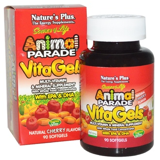 Nature\'s Plus, Source of Life, Animal Parade, VitaGels, Multi-Vitamin & Mineral Supplement, Natural Cherry Flavor, 90 Softgels - iHerb.com