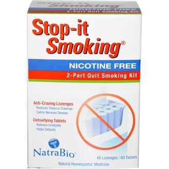 NatraBio, Stop-it Smoking, 2-Part Quit Smoking Kit, Nicotine Free, 48 Lozenges / 60 Tablets - iHerb.com
