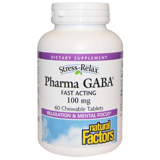 Natural Factors, Stress-Relax, Pharma GABA, 60 жевательных таблеток - iHerb.com