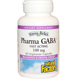 Natural Factors, Stress Relax, Pharma GABA, 100 mg, 60 Veggie Caps - iHerb.com