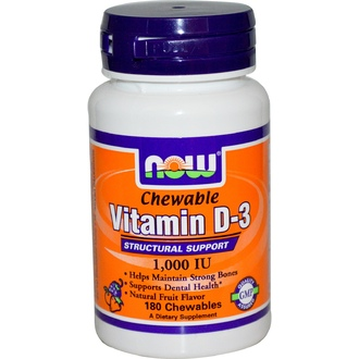 Now Foods, Chewable Vitamin D-3, Natural Fruit Flavor, 1,000 IU, 180 Chewables - iHerb.com