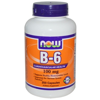 Now Foods, B-6, 100 мг, 250 капсул - iHerb.com