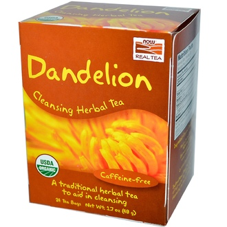 Now Foods, Real Tea, Dandelion Cleansing Herbal Tea, Caffeine-Free, 24 Tea Bags, 1.7 oz (48 g) - iHerb.com