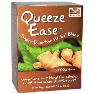 Now Foods, Real Tea, Queeze Ease, Ginger Digestive Herbal Blend, Caffeine-Free, 24 Tea Bags, 1.7 oz (48 g) - iHerb.com