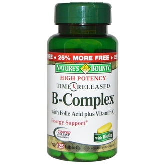 Nature\'s Bounty, High Potency Time Released B-Complex, 125 Tablets - iHerb.com