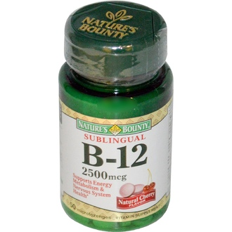 Nature\'s Bounty, B-12, Sublingual, Natural Cherry Flavor, 2500 mcg, 50 Microlozenges - iHerb.com