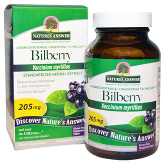 Nature\'s Answer, Bilberry, Standardized Herbal Extract, 205 mg, 90 Veggie Caps - iHerb.com