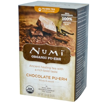 Numi Tea, Organic, Chocolate Pu•Erh, 16 Tea Bags, 1.24 oz (35.2 g) - iHerb.com