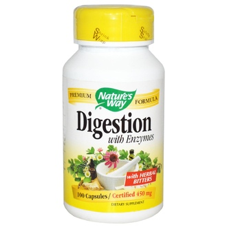 Nature\'s Way, Digestion with Enzymes, 450 mg, 100 Capsules - iHerb.com