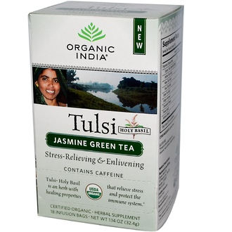 Organic India, Tulsi Holy Basil Tea, Jasmine Green Tea, 18 Infusion Bags, 1.14 oz (32.4 g) - iHerb.com