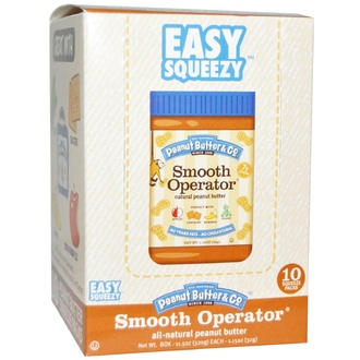 Peanut Butter & Co., Easy Squeezy, All Natural Peanut Butter, Smooth Operator, 10 Squeeze Packs, 1.15 oz (32 g) Each - iHerb.com